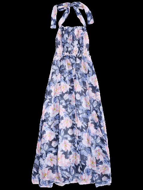 Robe maxi florale dos-nu froncée de plage - Floral L Mobile