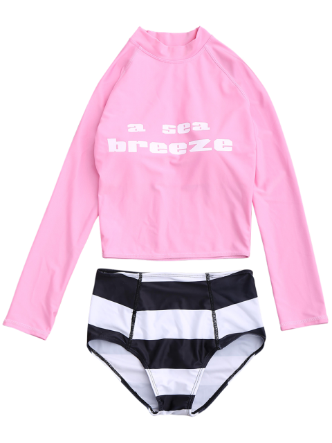 chic Graphic Top and Striped High Waist Bottoms Wetsuit - PINK XL Mobile
