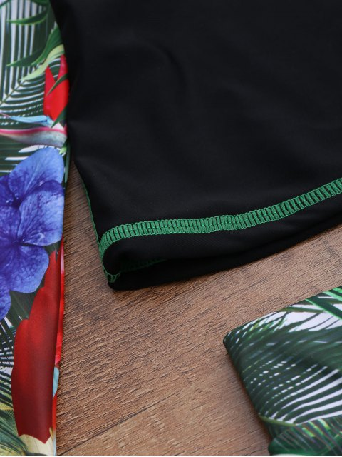 trendy Tropical Print Graph Top and Shorts Suit - BLACK XL Mobile