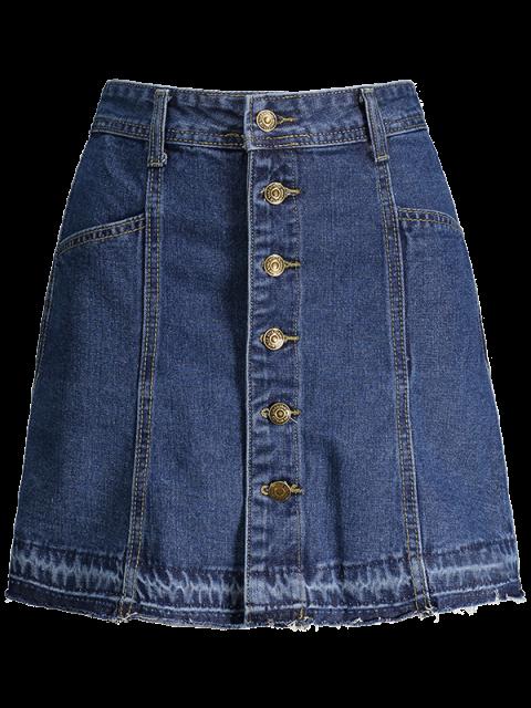 new Button Up Denim Mini Skirt - DENIM BLUE S Mobile