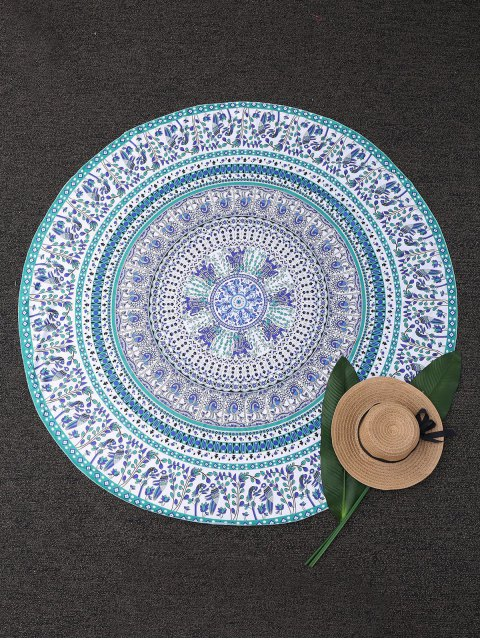 buy Round Tropical Print Beach Blanket - COLORMIX  Mobile