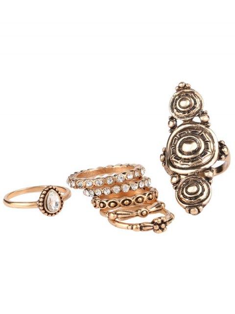 sale Rhinestone Teardrop Flower Ring Set - GOLDEN ONE-SIZE Mobile