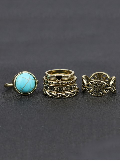 outfits Alloy Engraved Artificial Turquoise Ring Set - GOLDEN  Mobile
