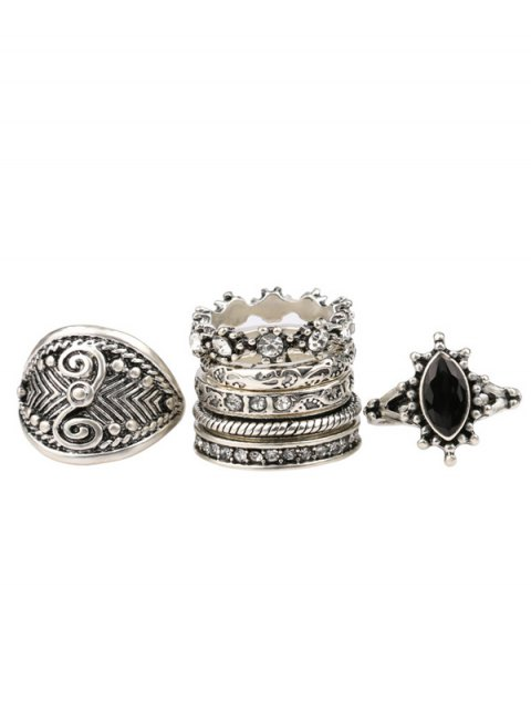 unique Rhinestone Engraved Vintage Ring Set - SILVER ONE-SIZE Mobile