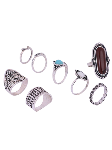 buy Engraved Faux Gem Turquoise Ring Set - SILVER ONE-SIZE Mobile