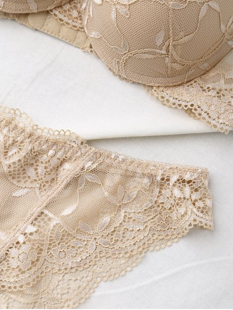 best See Thru Floral Lace Panel Bra Set - SKIN COLOR 75A Mobile