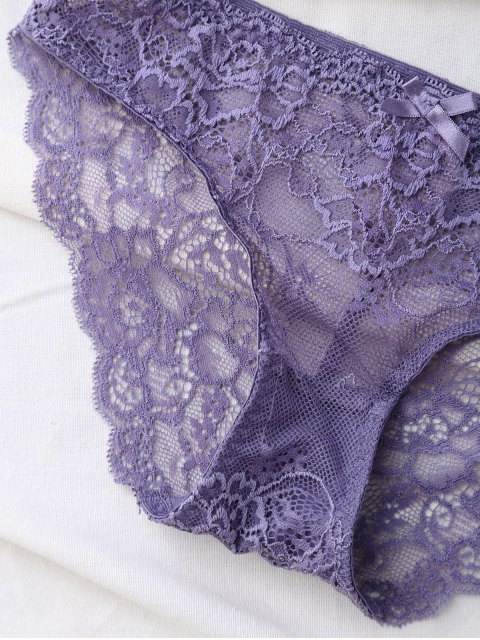 shops Double Straps Bowknot Lace Panel Bra Set - LIGHT PURPLE 80A Mobile