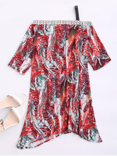 affordable Skew Neck Printed Chiffon Dress - RED M Mobile