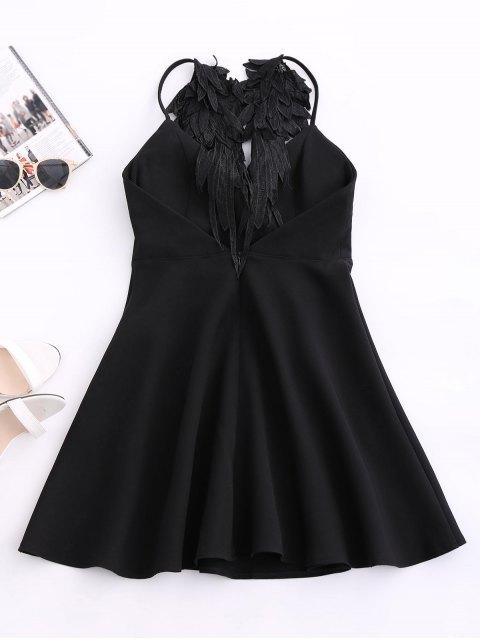 affordable Wing Strap Skater Padded Dress - BLACK M Mobile