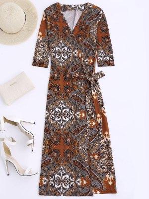 Print Wrap Beach Dress - Coffee