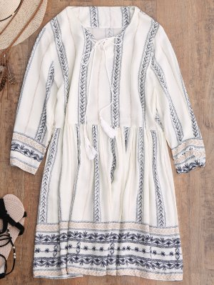 Stripe Print Mini Smock Dress - Off-white