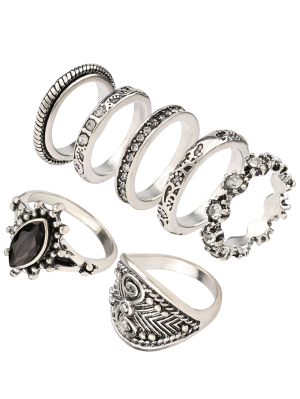 Rhinestone Engraved Vintage Ring Set - Silver