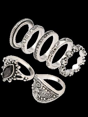 Diamantes De Imitación Set Grabado Anillo De La Vendimia - Plata