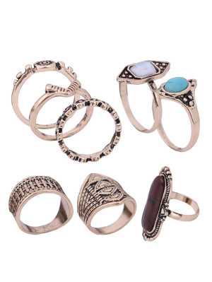 Engraved Faux Gem Turquoise Ring Set - Golden