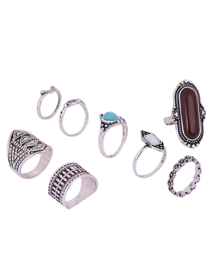 Engraved Faux Gem Turquoise Ring Set - Silver