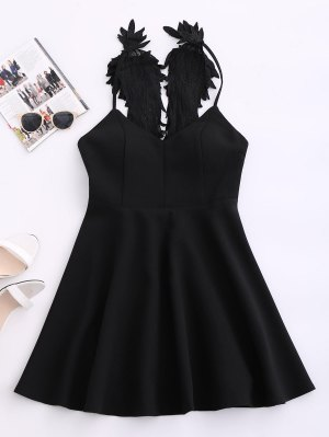 Wing Strap Skater Padded Dress - Black