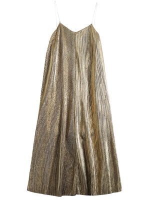 Vintage Glittered Midi Dress - Golden