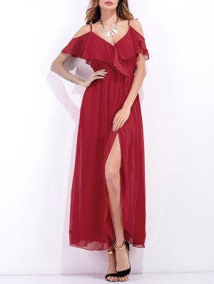 High Slit Ruffle Slip Chiffon Dress - Red