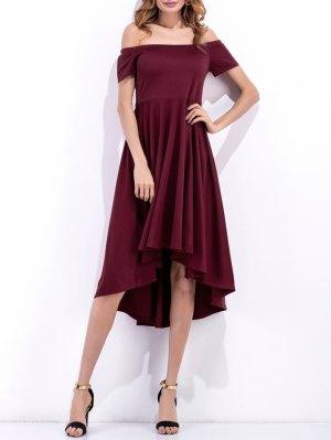 Off Shoulder High Low Flowing Dress - Wine Red