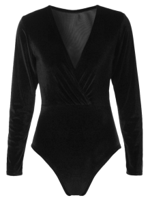 Long Sleeve Velvet Bodysuit - Black