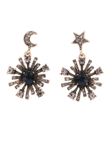 Rhinestone Moon Star Sun Earrings