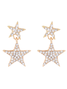 Pentagram Rhinestoned Earrings - Golden