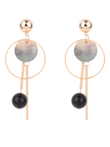 Bar Circle Ball Drop Earrings