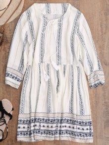 Stripe Print Mini Smock Dress