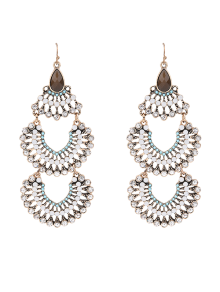 Faux Gem Multilayered Rhinestoned Earrings