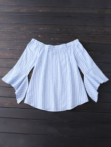 Bell Sleeve Off Shoulder Striped Blouse