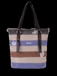 Color Block Canvas Shoulder Bag
