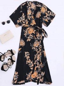 Floral Chiffon Wrap Beach Dress - Black