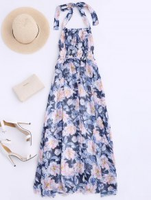 Shirred Halter Floral Maxi Beach Dress