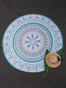 Round Tropical Print Beach Blanket