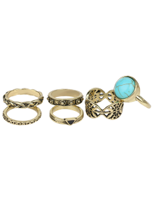 Alloy Engraved Artificial Turquoise Ring Set