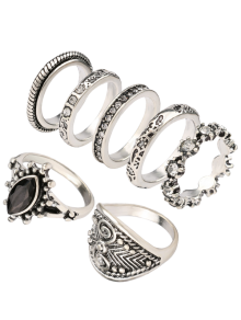 Rhinestone Engraved Vintage Ring Set