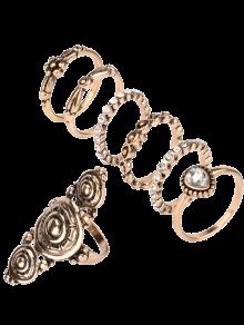 Rhinestone Teardrop Flower Ring Set