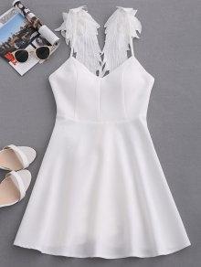 Wing Strap Skater Padded Dress - White L