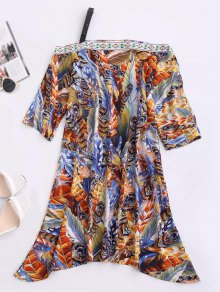 Skew Neck Printed Chiffon Dress - Blue