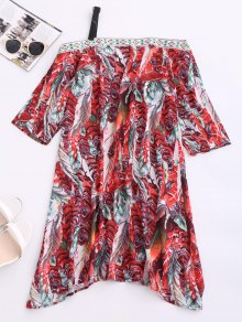 Skew Neck Printed Chiffon Dress
