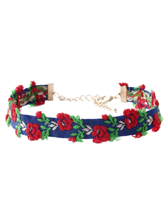 unique Flower Embroidered Choker - BLUE