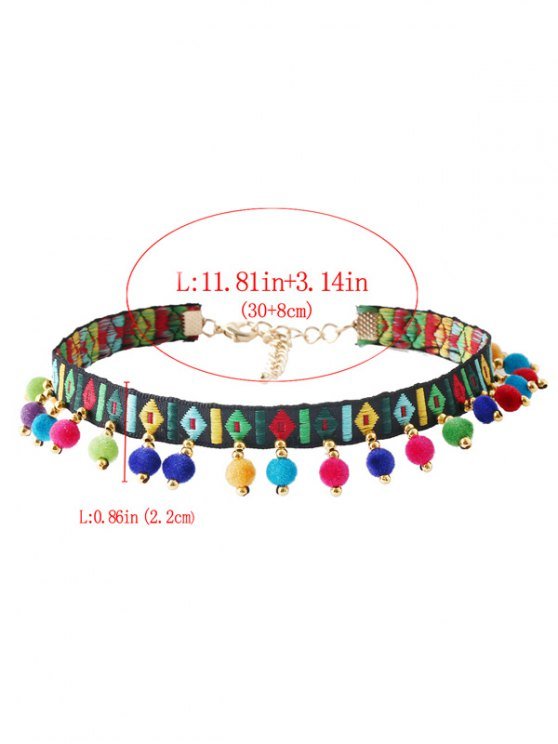 Ball Geometric Embroidered Choker Necklace - MULTICOLOR  Mobile