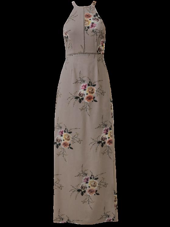 Robe florale dos-nu découpée en échelons avec cordons d'attache - Camée L
