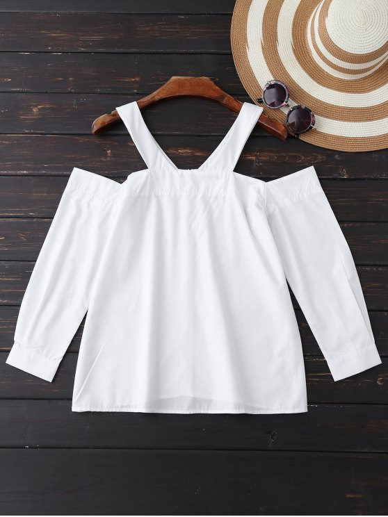 women Poplin Cold Shoulder Blouse - WHITE L