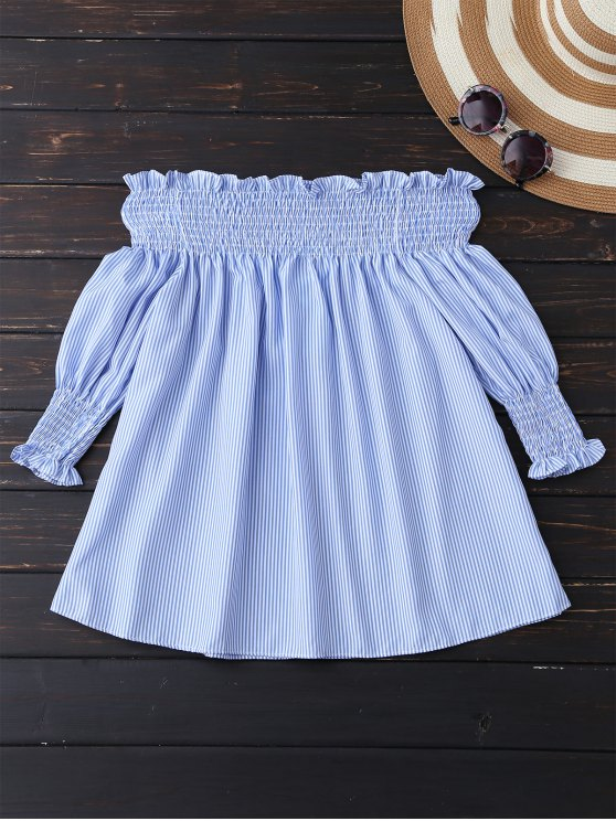 ladies Smocked Off The Shoulder Blouse - BLUE AND WHITE S