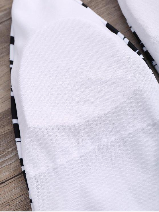 Stripe High Leg Sexy One Piece Bathing Suit - BLACK XL Mobile