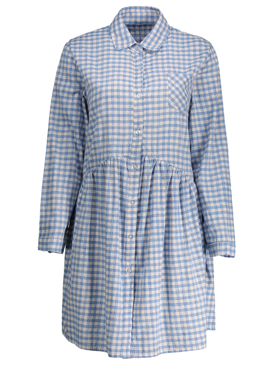Button Up Plaid Smock Shirt Dress - CHECKED ONE SIZE Mobile