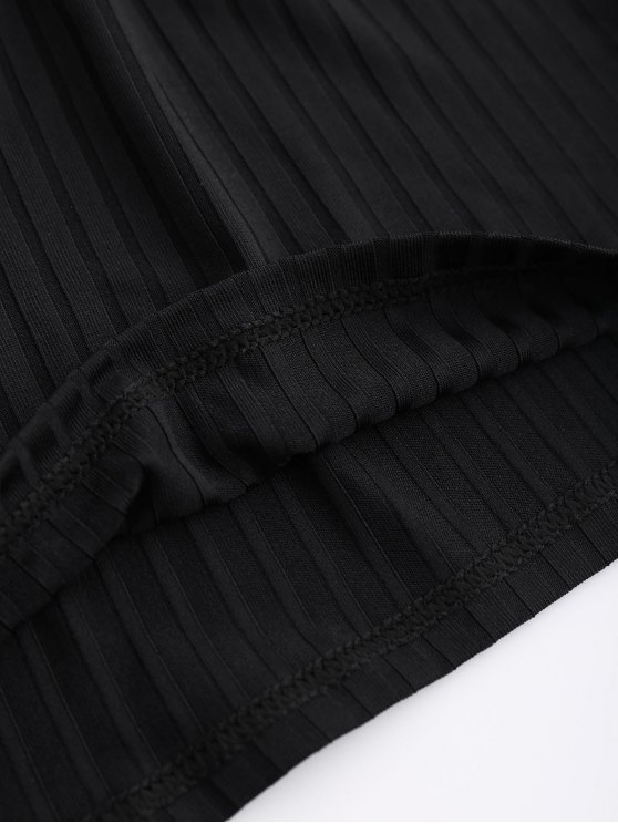 Cutout Ribbed Top - BLACK S Mobile