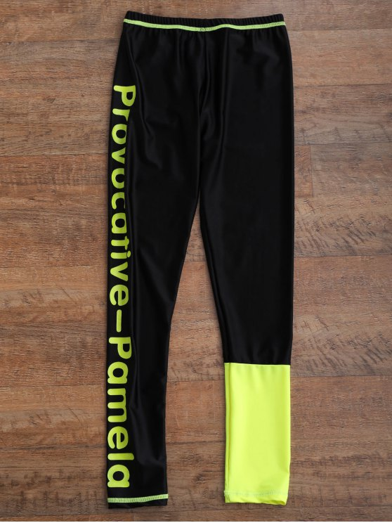 Graphic Front Zip 4 Pieces Wetsuit - FLUORESCENT YELLOW M Mobile
