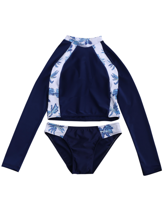 Tropical Print Crop Top and Briefs Wetsuit - PURPLISH BLUE M Mobile